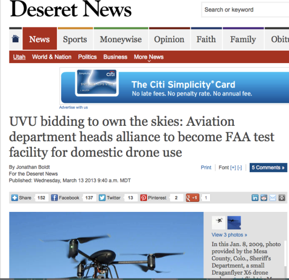 UVU sponsoring bid for domestic drone use.